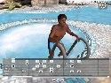 pool schwarz junge posiert